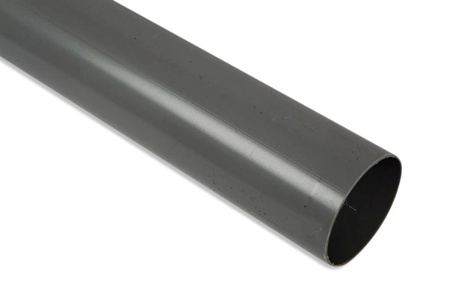 Nedløbsrør på 2 meter i grå plast. Str. 75 mm.